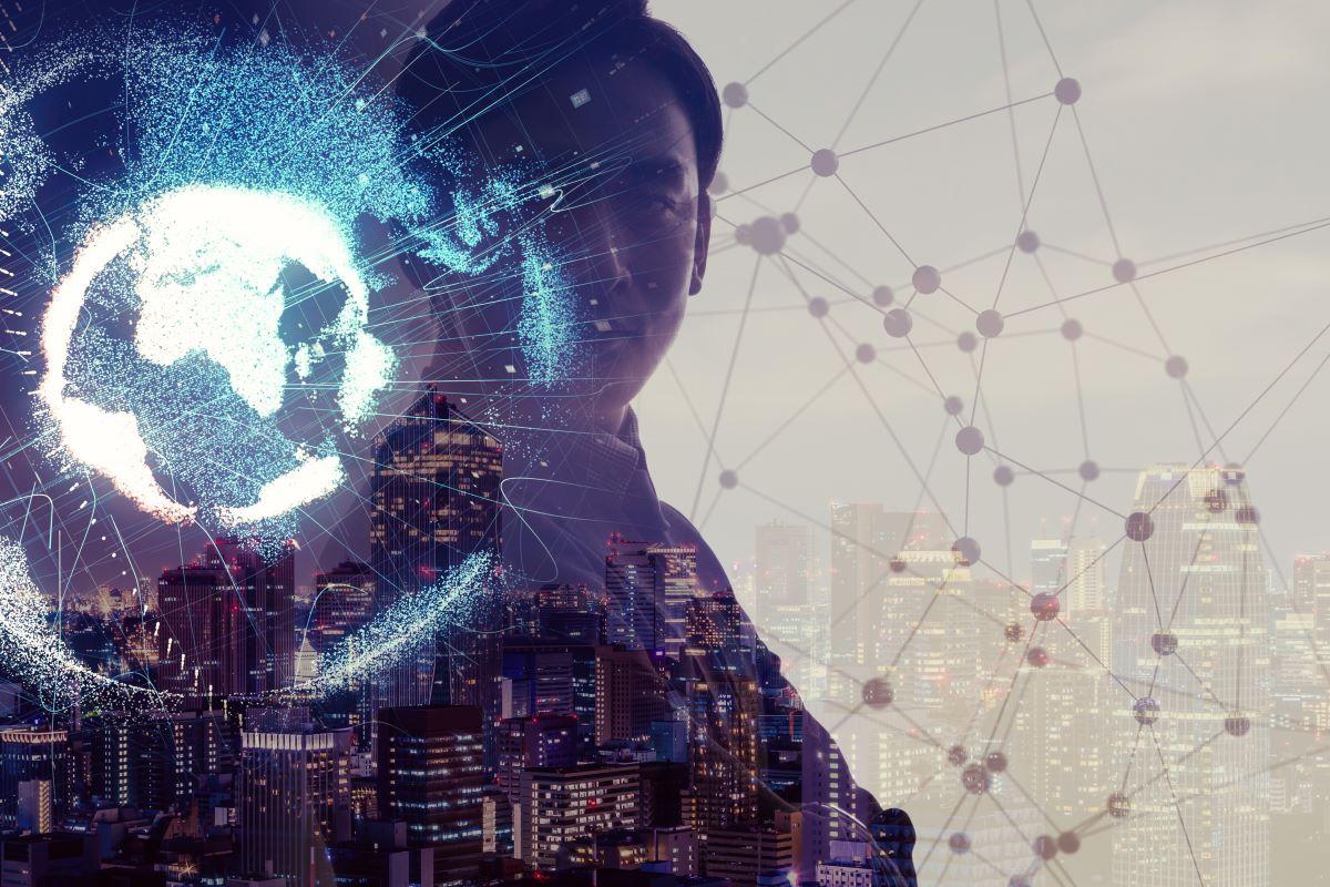 Man touching globe on virtual tech screen