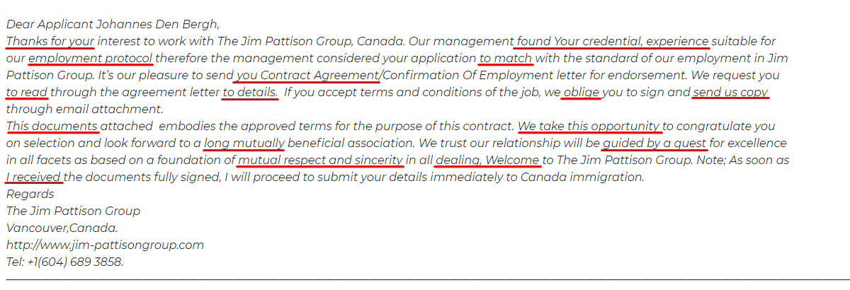 Canadian Immigration Scam email errors