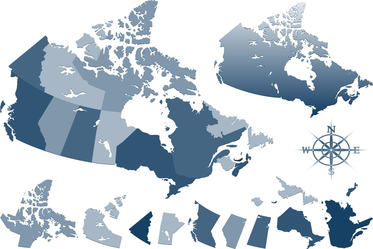 Blue Canadian provinces map