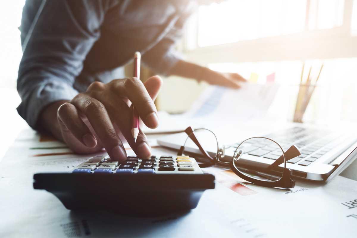 Accountant calculating figures