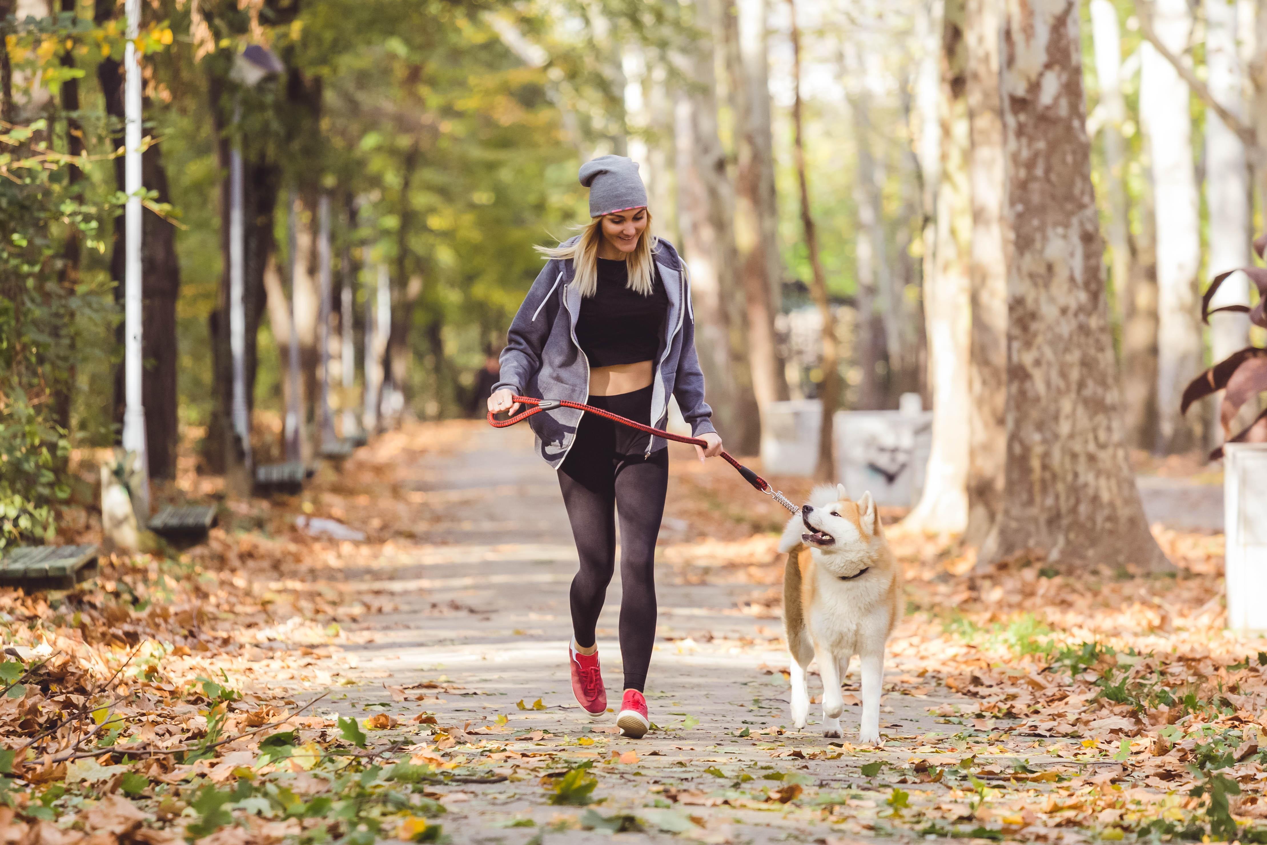 pretty-blonde-woman-walking-dog-in-park | study in Canada