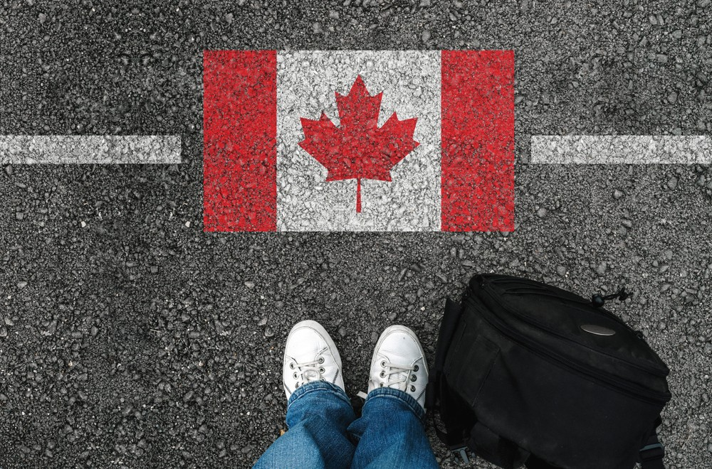 canada flag on street shoes bag